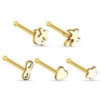 BodyJ4You Stud Nose Ring Pack Steel Goldtone 5 Pieces