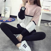 Women Cashmere Sweater Women fashion Slim 2015 Printed Autumn and Winter Knitted Warm O-neck Pullover Women Sweater