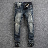 Retro Design Fashion Mens Jeans Nostalgia Wash Slim Fit Denim Ripped Jeans For Men