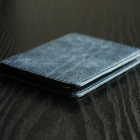 Leather Id Holder Wallet Navy - Card Holder - Men's Wallets - Minimalistic Leather Slim Wallet - FREE SHIPPING