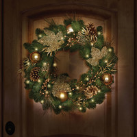 The St. John's Wood Golden Cordless Holiday Trim (Wreath) - Hammacher Schlemmer