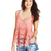 Dolled Up Juniors' Floral Crochet-Knit Top