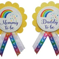 Rainbow Baby Shower Pin - Daddy to be or Mommy to Be pin to wear at Baby Shower or Baby Sprinkle LGBT