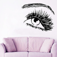 Make Up Wall Decal Beauty Salon Decor Fashion Vinyl Sticker Eye Decals Eye Lashes Decal Art Mural Home Bedroom Design Girls Room Decor KY133