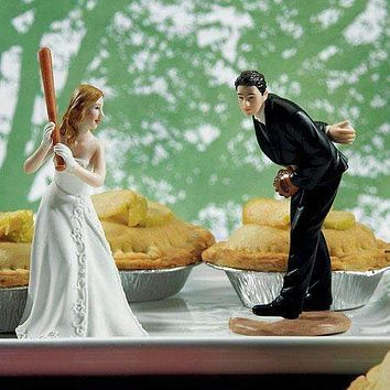 """Baseball Wedding Cake Topper - Hit a Home Run Bride at Home Base Ready to """"Hit the Home Run"""" (Pack of 1)"""