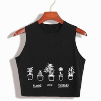 2017 New Arrival Plants are friends Women's Sexy Crop top Stretch Cotton cropped camisole top camis modal top for girls fashion