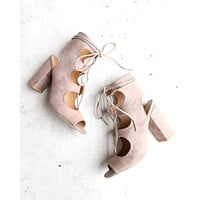Suede Lace Up Heel Sandals in Taupe