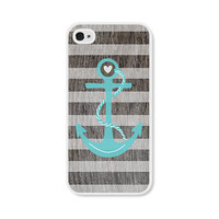Striped Anchor Apple iPhone 5 Case - iPhone 5 Cover - Wood Nautical iPhone 5 Skin - Turquoise Blue Brown White Cell Phone