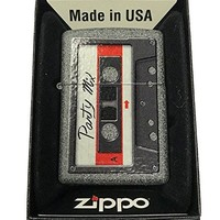 Zippo Custom Lighter - Awesome Party Mix Vintage Cassette Tape - Iron Stone