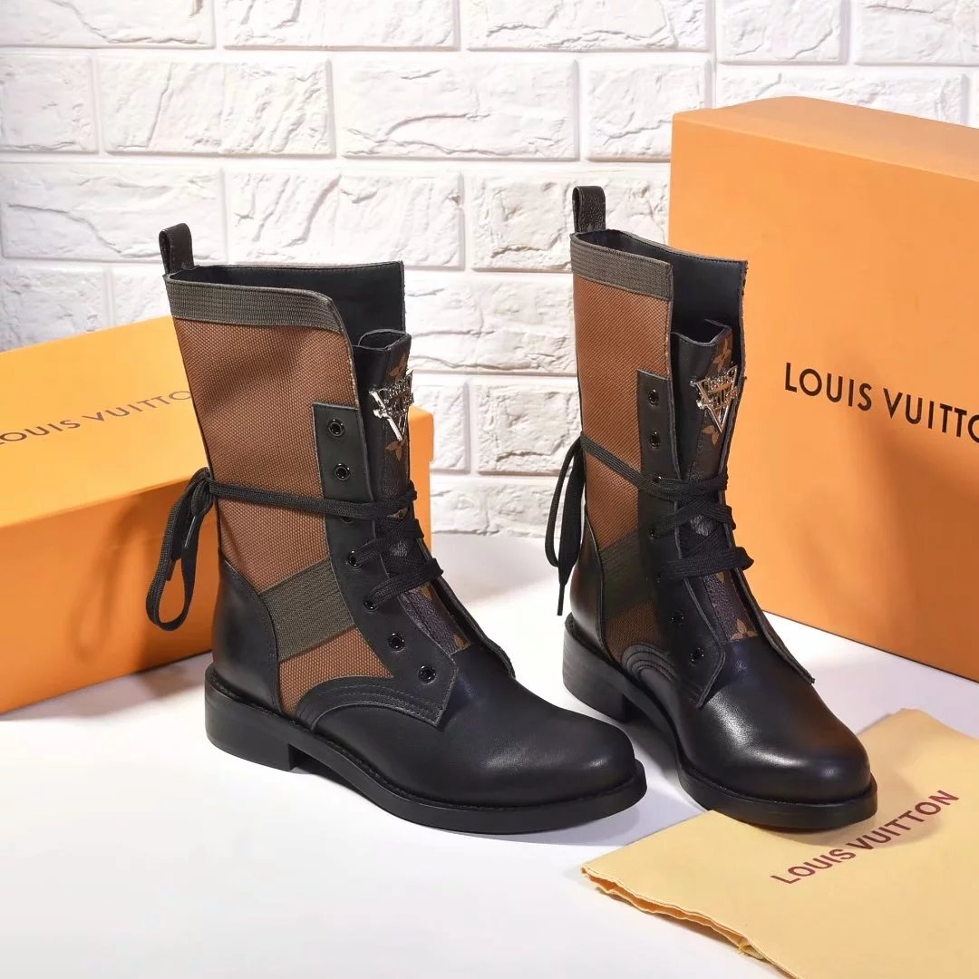 Image of LV Louis Vuitton Trending Women's Black Leather Side Zip Lace-up Ankle Boots Shoes High Boots