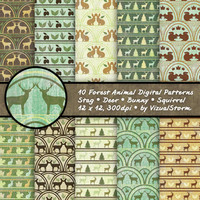 Forest Animals Scrapbooking Paper Woodland Background Patterns Stag Deer Bunny Squirrel Printable Forest Digital Paper Woodland Party Motifs