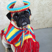 Poncho& Sombrero set for dogs-Costumes-Poncho for Dogs-Cinco De Mayo-Pugs-Novelty Hats-Hats for Pugs-Pugs