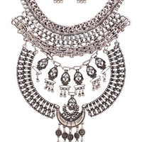 Sliver Stone Statement Chunky Necklace And Earrings