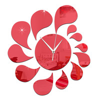 3D Water-drop Mirror Wall Clock Acrylic Sticking   red