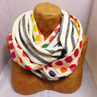 Colorful Knit Scarf - The Hybrid Hexatone Cozy Infinity Scarf - LIMITED EDITION