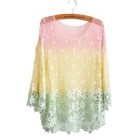 Rainbow Crochet Lace Blouse