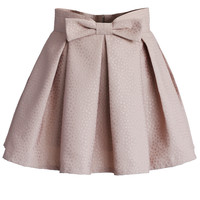 Sweet Your Heart Bowknot Pleated Mini Skirt in Pink Pink