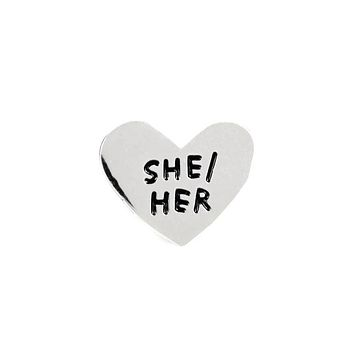 She / Her Gender Pronoun Heart Pin