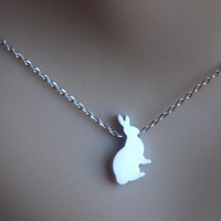 Silver Necklace, Rabbit Necklace, Bunny Necklace, Silver Bunny, Silver Rabbit, Rabbit Pendant, Bunny Pendant, Small, Tiny, Animal Jewelry