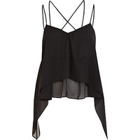Black strappy layered swing top - going out tops - tops - women