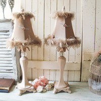 Shabby Chic Ornate Table Lamps Blush Pink Pair of Lamps Pink and Taupe Lamps with Feather Trim Adorned Cottage Chic Nursery Room Pink Lamps