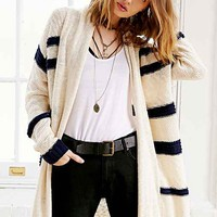 Sloane Rogue Striped Open-Front Cardigan- Ivory