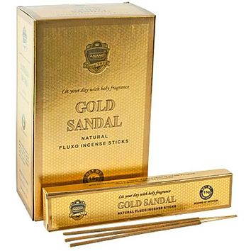 Gold Sandal Incense - 15 Sticks Pack (12 Packs Per Box)
