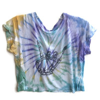 Tie Dye Skeleton Crop Top Skull Tumblr Hipster