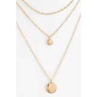 Delicate Disk Design Pendant Layered Necklace