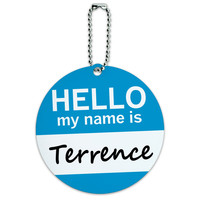 Terrence Hello My Name Is Round ID Card Luggage Tag