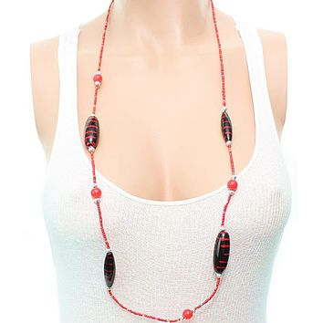 Red Wooden Sequin Striped Necklace Set