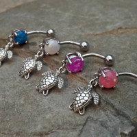 Fire Opals Choose Your Color Turtle Blue Belly Ring Navel Ring Body Jewelry 14ga Surgical Steel