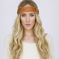 Vintage Leather Headband Bohemian Hippie Head Piece Photo Prop Women's Boho Indie Fashion Accessories Brown Tooled Leather