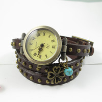 Brown Leather watch,three lap wrist Wrap watch,Clover and Turquoise lucky charm watch,ladies watch, girls watch, woman watch, Bracelet watch