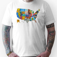 License Plate Map of The United States 2012 Edition 3 on White Unisex