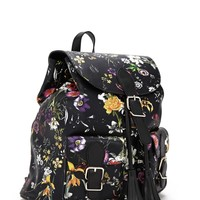 Floral Faux Leather Backpack