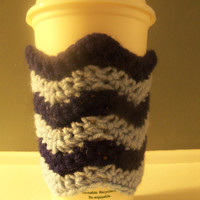 Handcrafted Crochet Cotton Reusable and Washable Chevron to-go Cup Sleeve (your choice of colors)