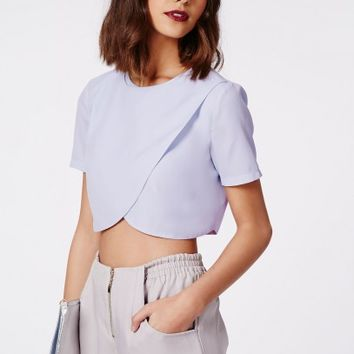 Missguided - Sysal Wrap Front Crop Top Baby Blue