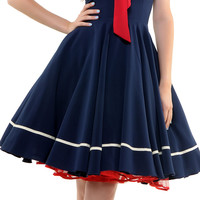 Navy Sweet Sails Swing Dress - Unique Vintage - Cocktail, Pinup, Holiday & Prom Dresses.