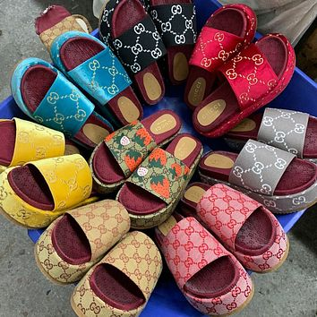 LV Louis vuitto GG new women's GG embroidered letter platform slippers high quality