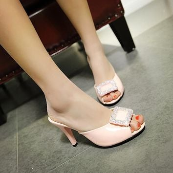 Women Peep Toe Rhinestone Stiletto Heel Slides Sandals 5420