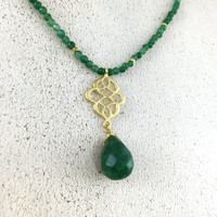 Green Jade Pendant Necklace,Gold Plated Necklace,Green Jade Necklace, Green Crystal Necklace, Boho Necklace,Healing Necklace, gift for her