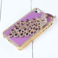 Pandamimi Purple Glitter Bling Crystal Diamond Peacock Hard Chrome Glitter Leather Case for Apple iPhone 4 4S and Front and Back Screen Protector Film