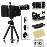 iPhone SE, E LV iPhone SE/5/5S accessories Camera Lens Kit includes 12x Black Telephoto Manual Focus Camera Lens with Tripod / 3 Quick-Connect Lens Solution Fisheye Lens, Macro Lens, Wide-angle Lens / 1 Universal Holder / 1 Mini Tripod / 1 Protection Case
