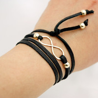 14k Yellow Gold Filled Hammered Infinity Sign Black or Red Leather Wrap Bracelet - Simple Modern Minimalist Jewelry - Friendship Bracelet