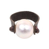 Leather Pearl Ring | Freshwater