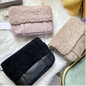 New lamb wool one-shoulder messenger real wool wool all-in-one female bag