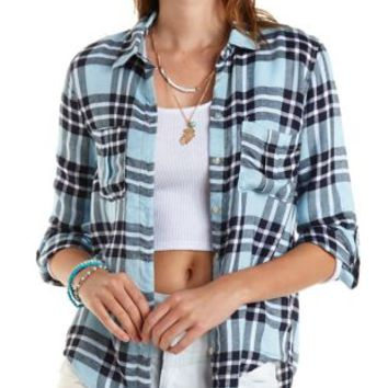 Plaid Button-Up Shirt by Charlotte Russe - Blue Combo