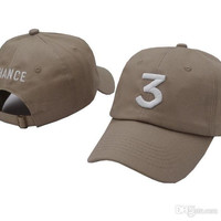 Khaki Popular Singer Chance The Rapper 3 Chance Cap Black Letter Embroidery 3D Baseball Cap Hip Hop Streetwear Snapback Hats