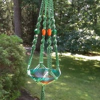 Macrame Plant Hanger, vibrant light and dark green 6 mm polyolefin cord, green, orange and white wooden beads in a modern design